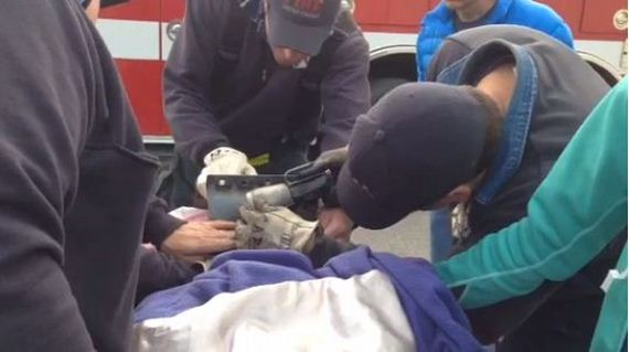 03-Firefighters-Extricate-Dog-stuck-Metal-Pipe