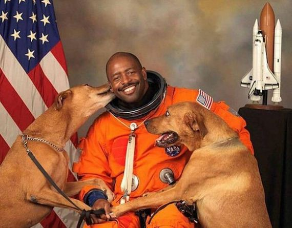 NASA Astronaut's Official Photos Include Two Rescue Dogs