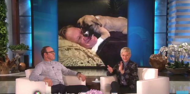 Kevin Spacey Tells Ellen How He Met The New Love Of His Life: His Puppy!