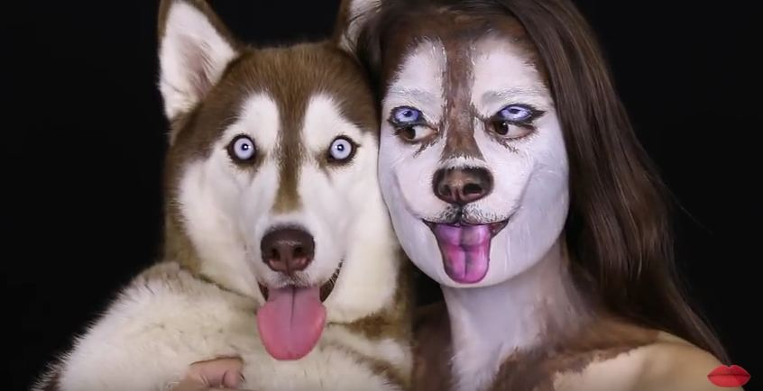 Woman Transforms Herself With Makeup To Match Her Dog–You Gotta See This!