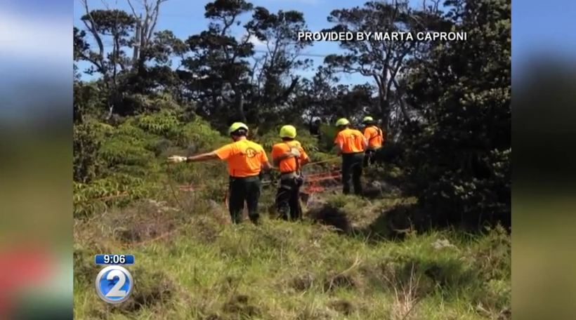 Park Rangers Go After Dog That Fell Into A Volcano