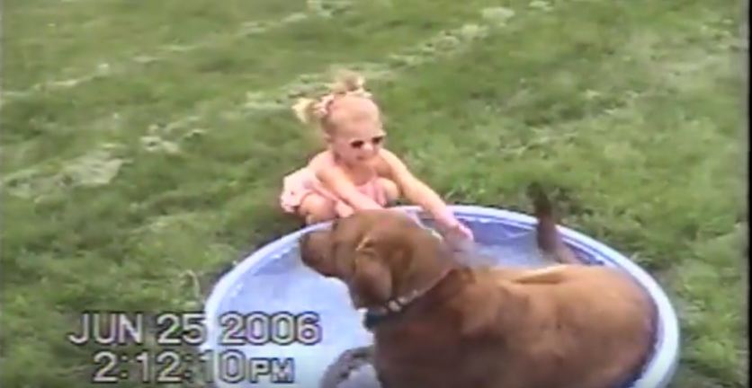 Dog Gets in the way of Little Girl Playing