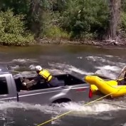A Truck Is Sinking In The River, But It's Not Empty. This Made Me Nervous Just Watching!