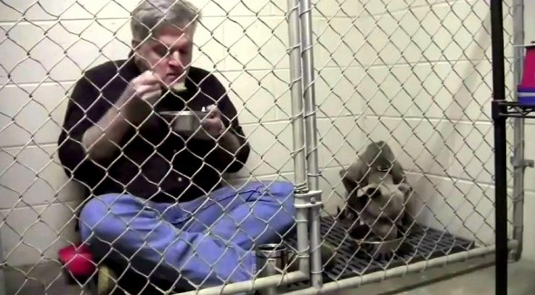 Veterinarian Eats in Kennel to Comfort Scared Shelter Dog
