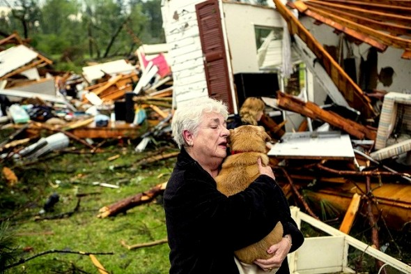 Woman Finds Her Dog Alive in Tornado-Wrecked Home