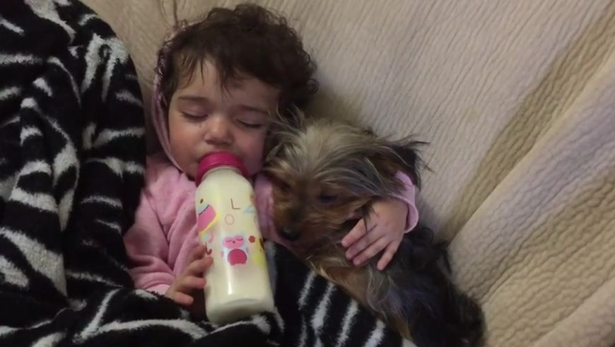 Cuteness overload! Baby cuddles puppy for nap time