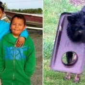 Heroic Young Boys Rescue Mother Dog Stuck in Trash Can Lid