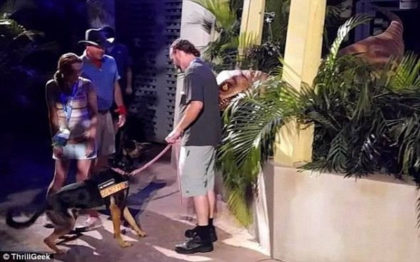 "Service Dog Stands Up to Velociraptor ""Attacking"" Human at a Theme Park"