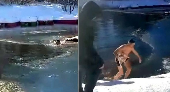 Courageous Man Risks His Own Life and Jumps Into a Frozen Lake to Save a Dog from Drowning