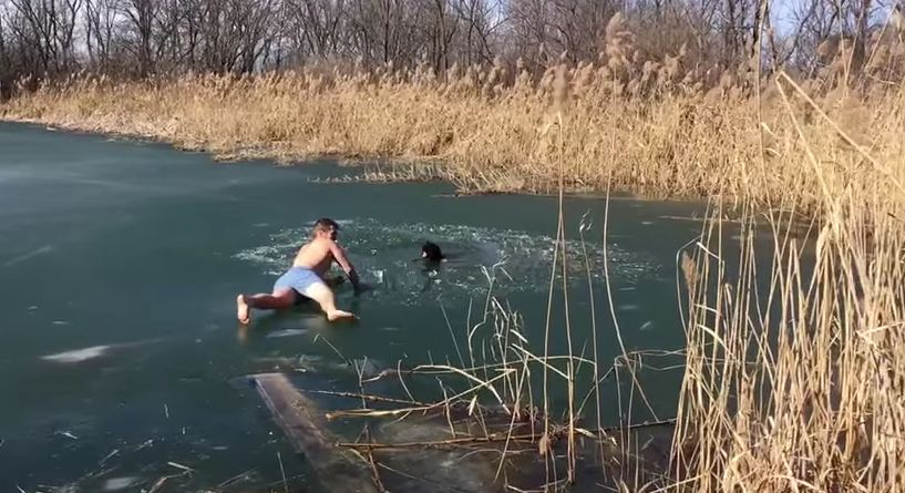 Man makes daring attempt to rescue dog who fell in frozen lake