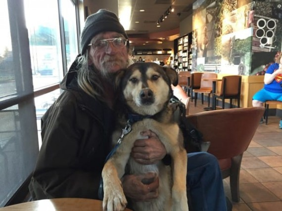 He noticed a homeless man and dog in Starbucks but never expected what was about to happen