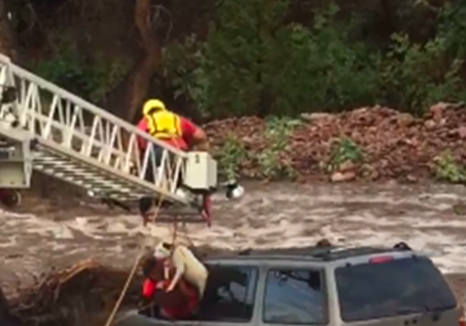 Rescuers Worked Tirelessly To Save A Man And His Furry Best Friend From A Terrifying Flash Flood