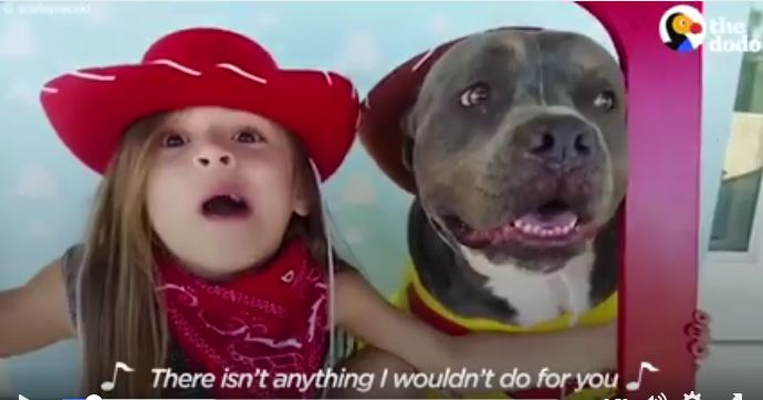 Little Girl Sings To Her Pibble BFF