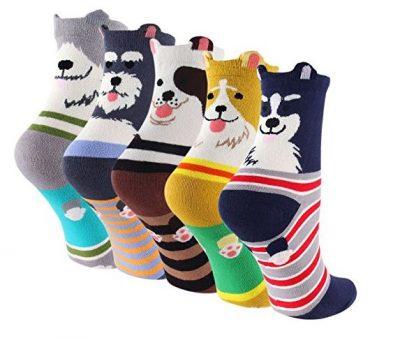 Cartoon Cotton Dog Crew Socks – Novelty Liner Socks for Women 5-pack