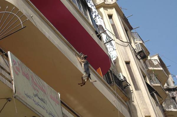 German Shepherd Hanging From Balcony By A Chain Rescued Just In Time