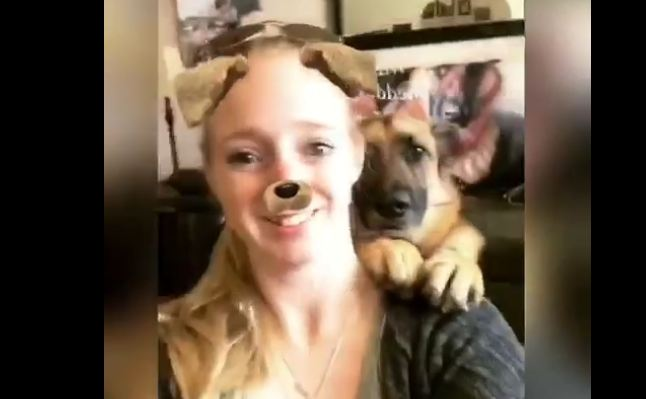 German Shepherd knows how to take selfie