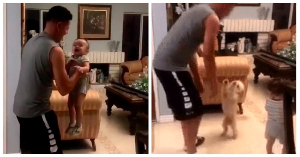 Teen Films Dad Tossing Baby Brother Into Air, But Dies Laughing At Dog's Reaction.