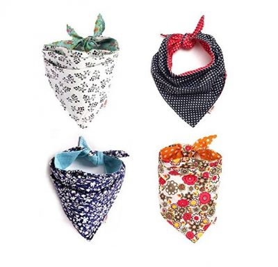 FUNPET 4 Pcs Dog Bandana Triangle Bibs Bright Coloured Scarfs