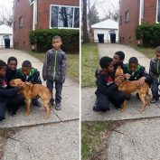 Abandoned Dog Tied With A Bungee Cord Gets Rescued By Four Young Boys