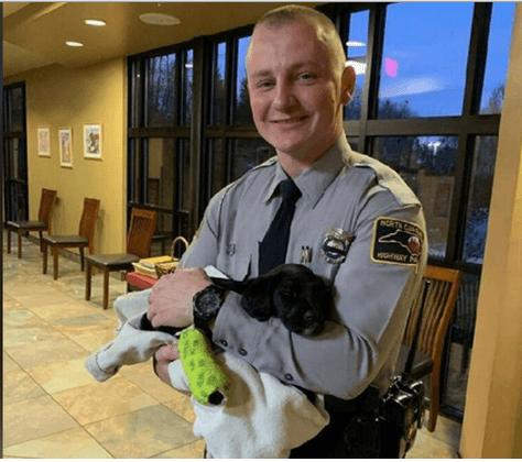 Trooper adopts puppy injured in car crash
