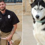 Handsome shelter worker posing with dog up for adoption causes social media stir